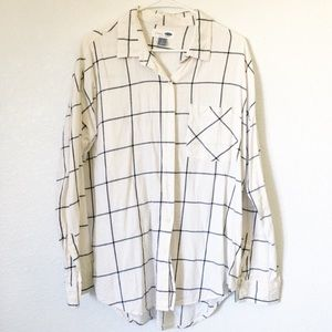 Old Navy White Plaid Flannel